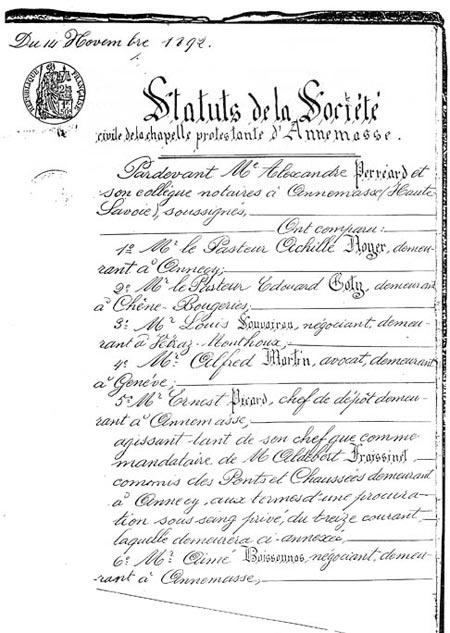 Fac-similé des premiers 'Statuts de la Société civile de la chapelle protestante d'Annemasse.'