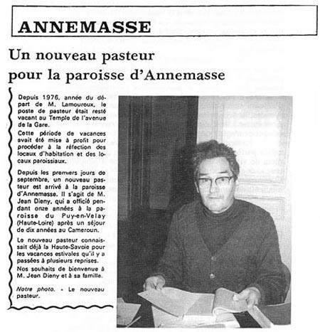 Le Dauphine libéré annonce la nomination du pasteur Jean Diény.