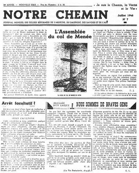 Fac-similé de Notre Chemin, no. 7 de juillet 1946.